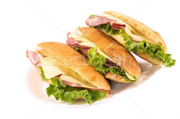 Klub szendvics izolált fehér zöld kenyér sajt Stock fotó © badmanproduction