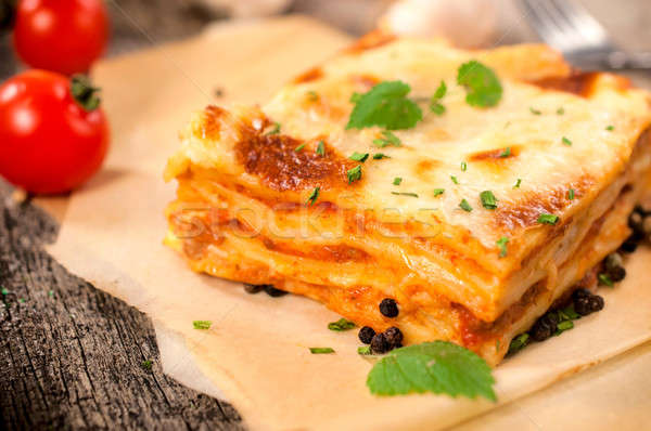 伝統的な ラザニア イタリア語 自家製 トマト チーズ ストックフォト © badmanproduction