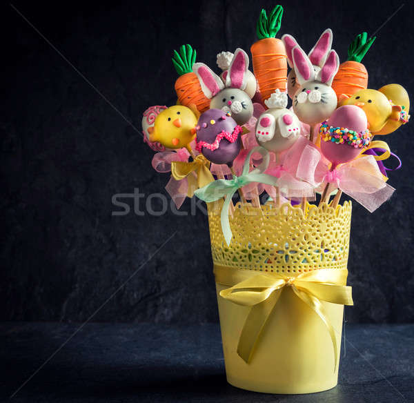 Easter basket with cake pops Stock photo © badmanproduction
