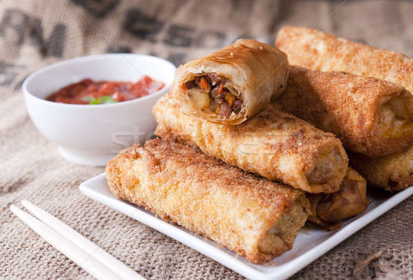 Fried meat rolls Stock photo © badmanproduction