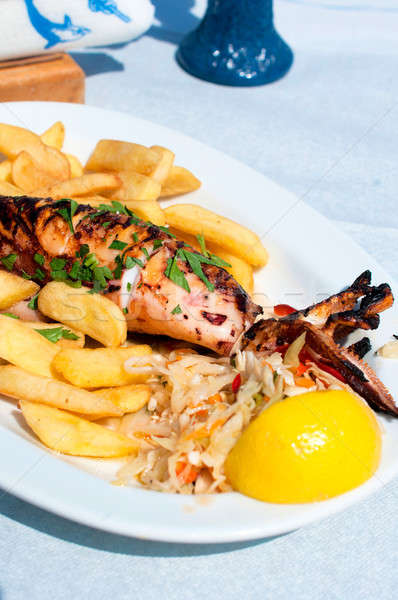 Stock fotó: Grillezett · tintahal · szelektív · fókusz · középső · hal · étterem