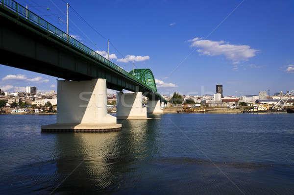 Pont train rivière Belgrade construction métal Photo stock © badmanproduction