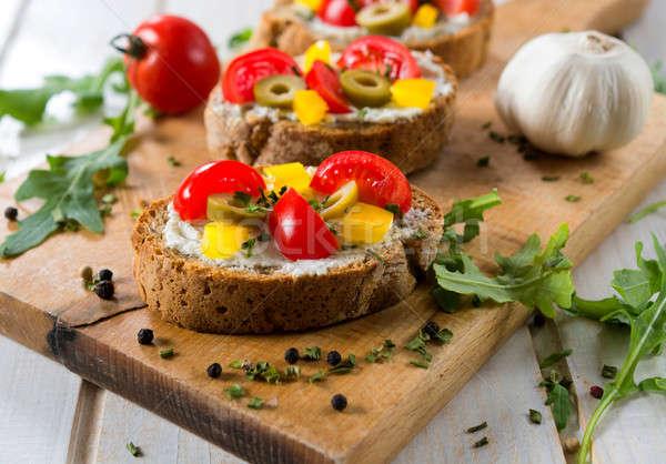 Lezzetli bruschetta seçici odak ekmek Stok fotoğraf © badmanproduction
