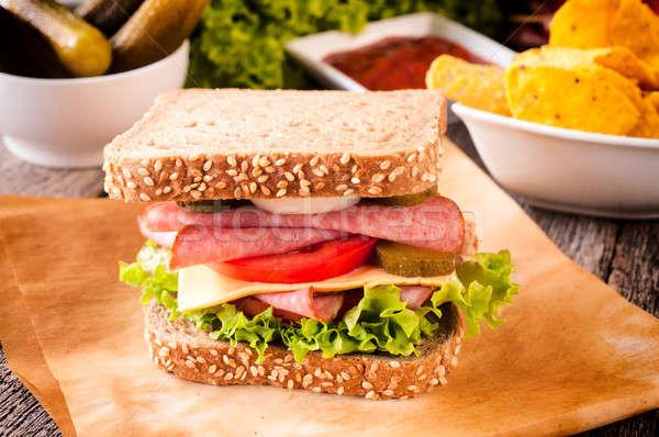 Sandwich with sausage Stock photo © badmanproduction