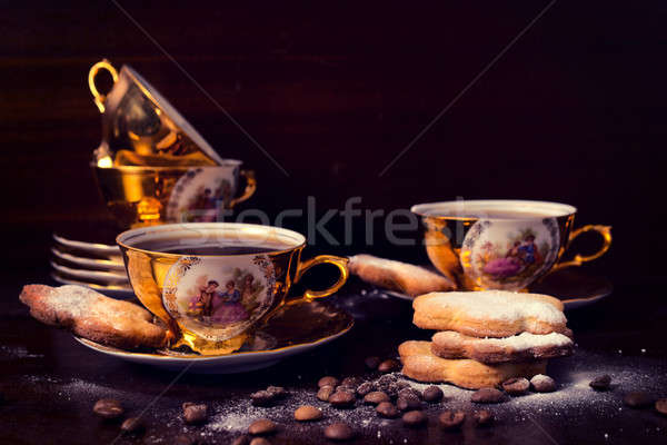 Koffie vintage zwarte koffie oude gouden Stockfoto © badmanproduction