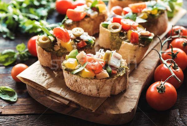 Italian traditional bruschettas Stock photo © badmanproduction