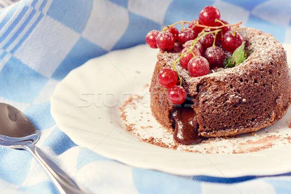 詰まった 溶岩 ケーキ 自家製 フォーカス ストックフォト © badmanproduction