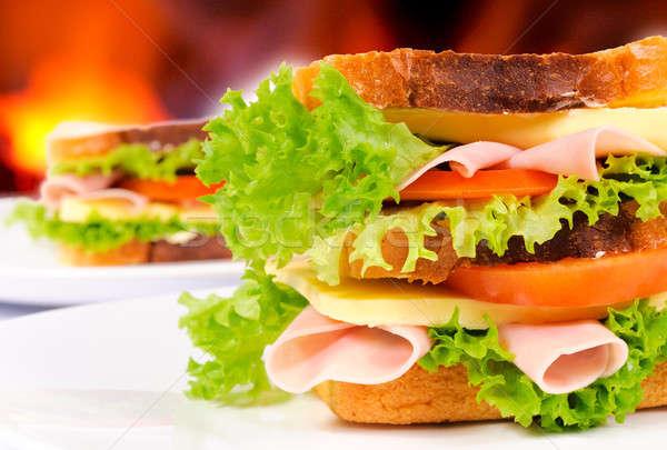Par sándwich resumen alimentos restaurante Foto stock © badmanproduction