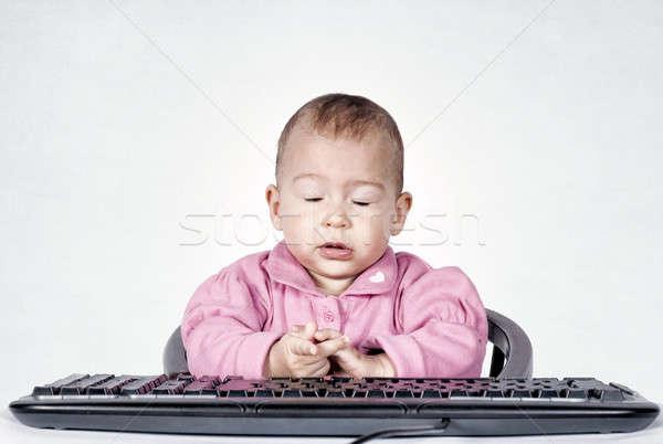 Foto stock: Cansado · bebé · sesión · teclado · nina · escuela