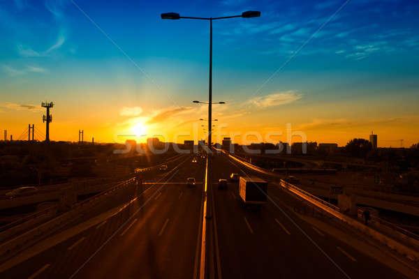 Photo stock: Autoroute · coucher · du · soleil · pont · mouvement · voitures · bureau