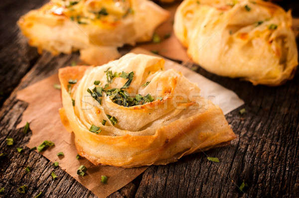 Chive on pie Stock photo © badmanproduction