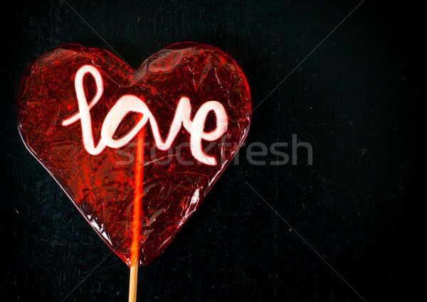 ストックフォト: 愛 · キャンディー · 開く · 赤 · 心臓の形態 · 黒