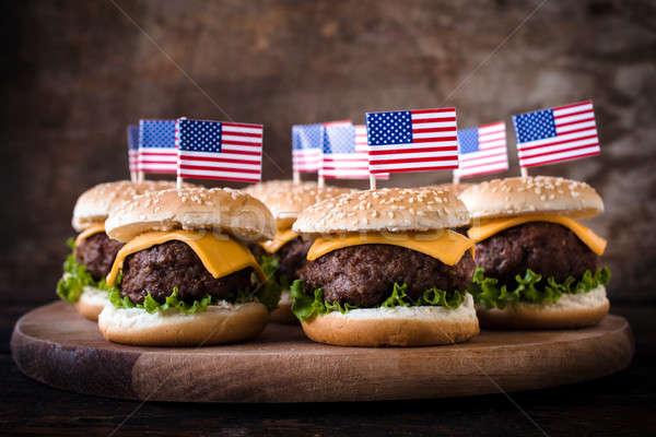 Mini carne bandiera americana legno alimentare cafe Foto d'archivio © badmanproduction
