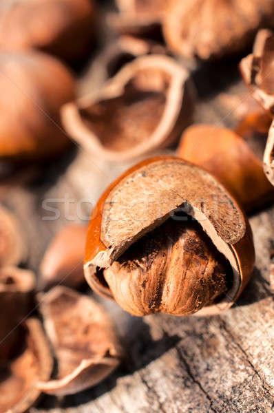 Mogyoró kagyló nyers mogyoró repedt fa asztal Stock fotó © badmanproduction