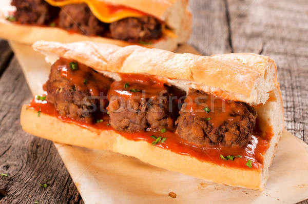 Meat balls in bread Stock photo © badmanproduction