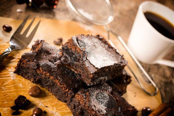 Fincan kahve çikolata siyah odak Stok fotoğraf © badmanproduction