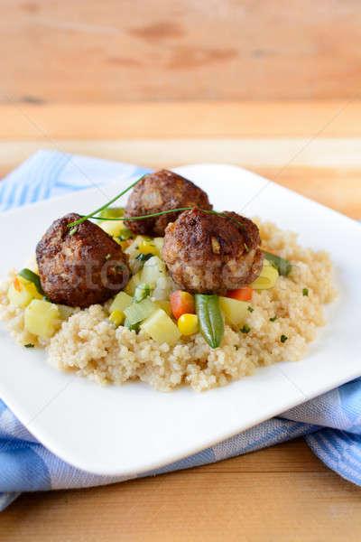 Stock fotó: Gurmé · étel · hús · golyók · kuszkusz · tányér