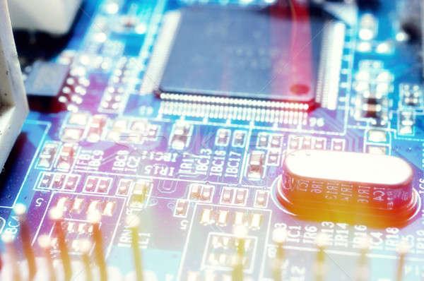 Stockfoto: Circuit · elektronische · circuit · board · focus · midden