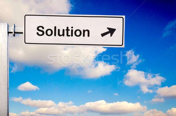 Oplossing manier paradijs teken hemel metaal Stockfoto © badmanproduction