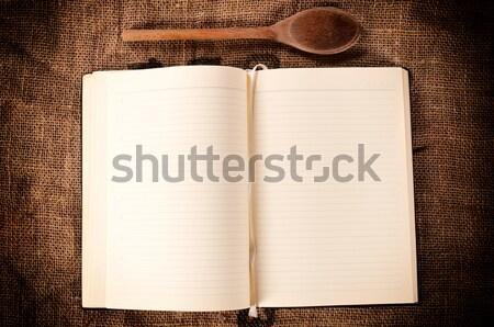 Livre de cuisine bois louche résumé papier alimentaire Photo stock © badmanproduction