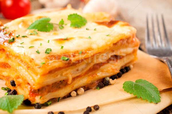 Fresche lasagna fatto in casa carne focus formaggio Foto d'archivio © badmanproduction