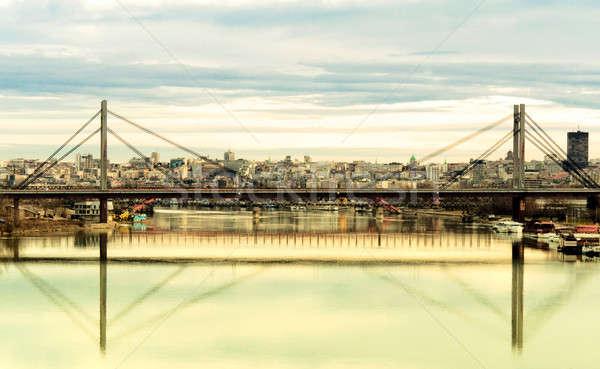 Belgrat manzara şehir Sırbistan köprü yansıma Stok fotoğraf © badmanproduction