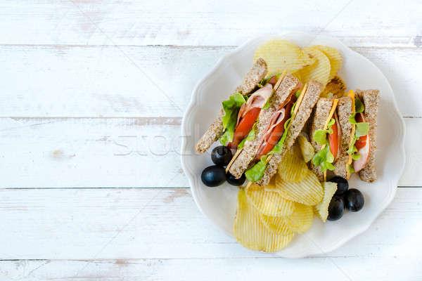 Kulüp sandviçler hizmet patates gıda Stok fotoğraf © badmanproduction