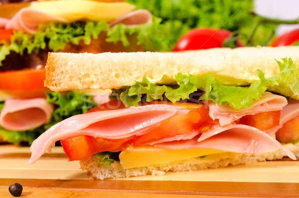 Klub szendvics szelektív fókusz elöl étel egészség hús Stock fotó © badmanproduction