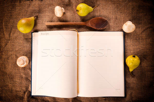 Książka kucharska grzyby gruszka drewna tle ramki Zdjęcia stock © badmanproduction