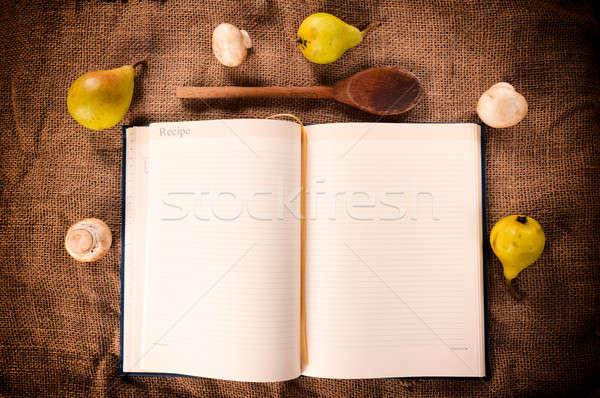 Yemek kitabı mantar armut ahşap arka plan çerçeve Stok fotoğraf © badmanproduction