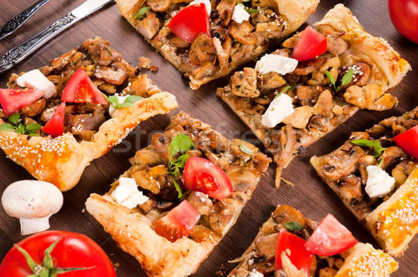 パイ スライス キノコ 肉 木製 食品 ストックフォト © badmanproduction