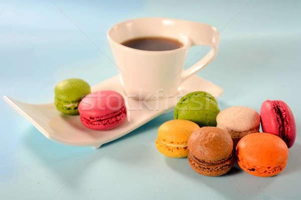 Macaroni koffie selectieve aandacht groene cake Stockfoto © badmanproduction