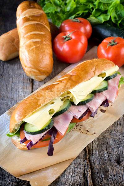 Tengeralattjáró szendvics sajt fókusz elöl étel Stock fotó © badmanproduction