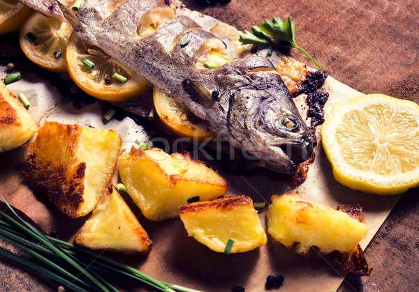 Sgombri pesce preparato ripieno limone Foto d'archivio © badmanproduction