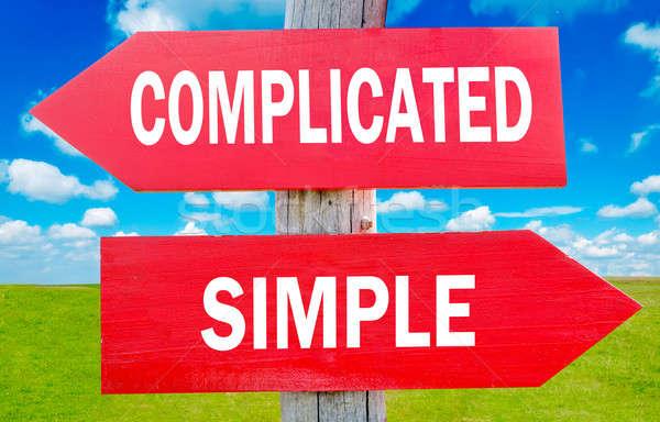 Gecompliceerd eenvoudige keuze tonen strategie verandering Stockfoto © badmanproduction