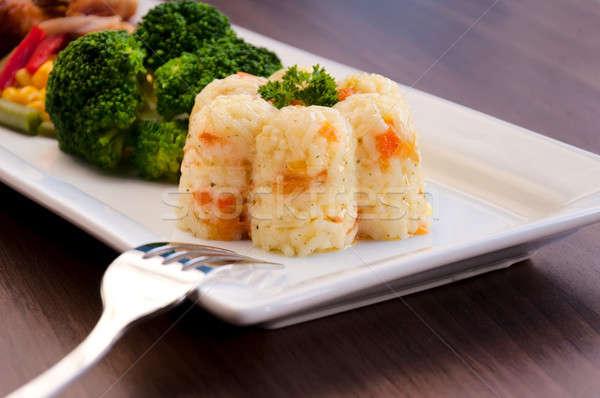 подготовленный риса белый овощей избирательный подход Кубок Сток-фото © badmanproduction