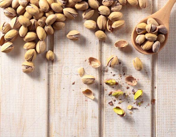 Tiempo mesa de madera frutas salud fondo Foto stock © badmanproduction