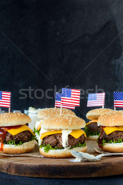 Mini carne bandeira americana foco Foto stock © badmanproduction