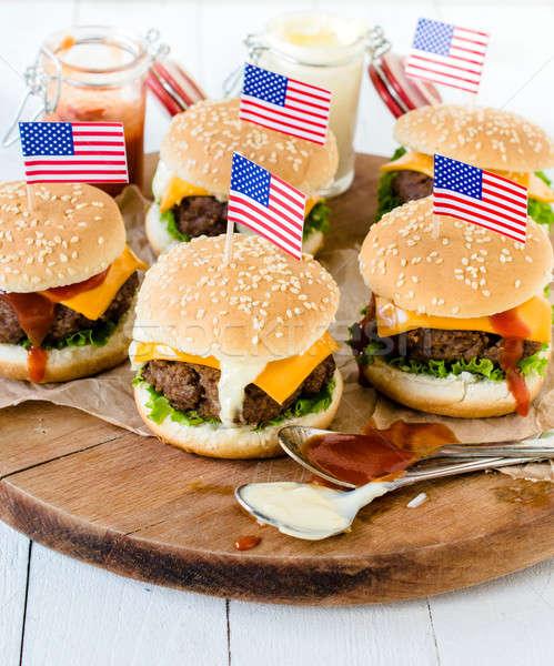 American mini burgers Stock photo © badmanproduction