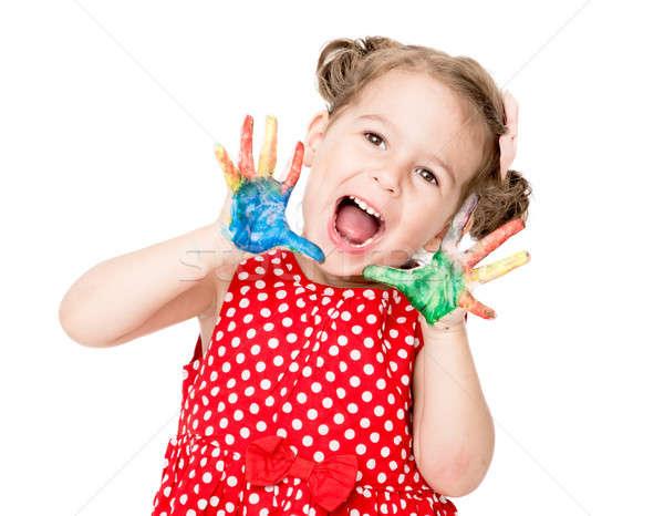 счастливым ребенка девочку красочный стороны улыбка Сток-фото © badmanproduction