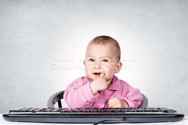 昼休み 赤ちゃん 指 子 通信 デジタル ストックフォト © badmanproduction