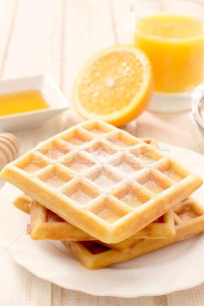 Belçika geleneksel turuncu odak kahvaltı tatlı Stok fotoğraf © badmanproduction