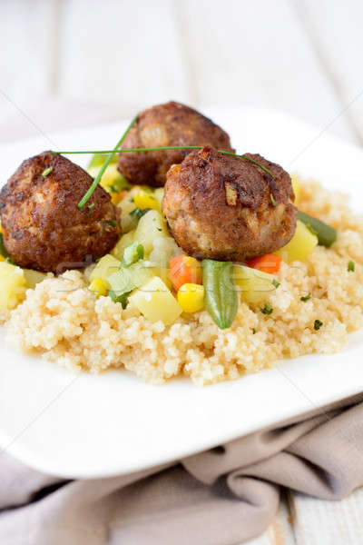 Couscous carne prato salada legumes Foto stock © badmanproduction