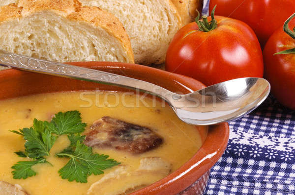 Сток-фото: готовый · таблице · продовольствие · хлеб · мяса · кукурузы