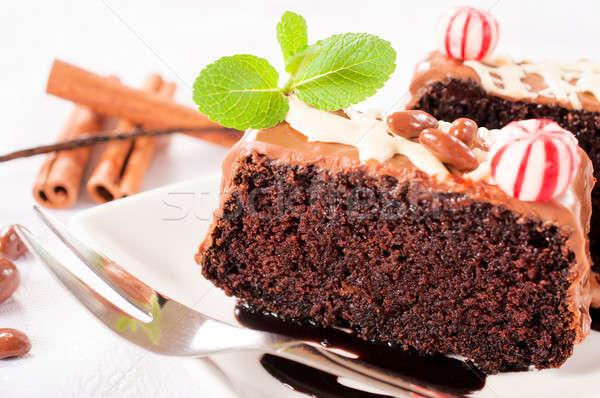 Selectieve aandacht plakje voedsel verjaardag vruchten Stockfoto © badmanproduction