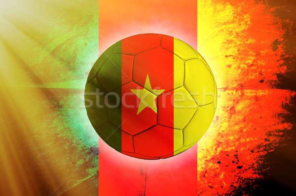 Kamerun piłka piłka banderą streszczenie świat Zdjęcia stock © badmanproduction