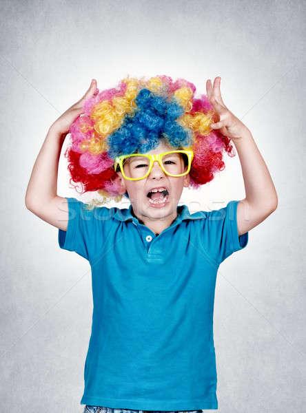 Stockfoto: Weinig · clown · schreeuwen · geïsoleerd · grijs · gezicht