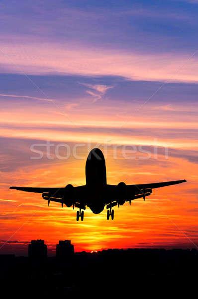 Avion coucher du soleil noir avion avion silhouette Photo stock © badmanproduction