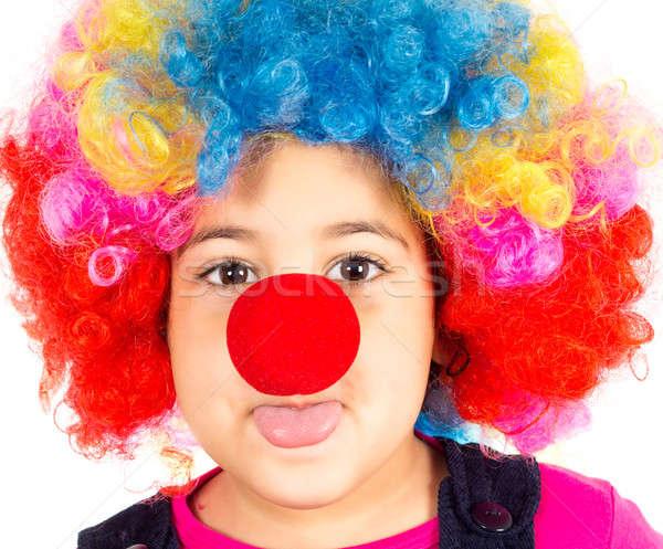 Clown grappig weinig kind pruik Rood Stockfoto © badmanproduction