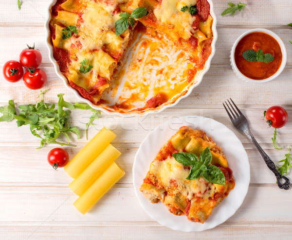 Pasta cannoli from above Stock photo © badmanproduction